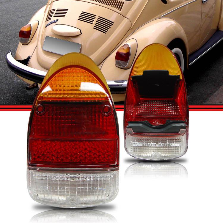 Par Lente Lanterna Traseira Fusca Fuscão 1300L 1500 71 a 75 Tricolor  - Amd Auto Peças