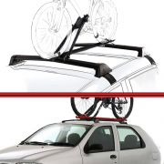 Kit Rack Travessa Wave Baixo + Suporte Bike Palio 96 a 06 Palio Fire 01 a 08 2 Portas Preto