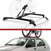 Kit Rack Travessa Wave Baixo + Suporte Bike Palio 96 a 06 Palio Fire 01 a 08 4 Portas Preto
