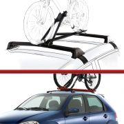 Kit Rack Travessa Wave Baixo + Suporte Bike Palio 12 em diante 4 Portas Preto