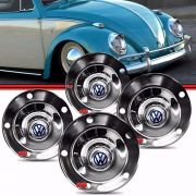 Kit Calota Tipo Viagem Centro Roda Fusca 5 furos 1200 1300 130L 1500 1600 Aço Cromado com Emblema VW