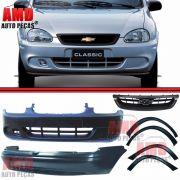 Kit Parachoque Dianteiro e Traseiro + 4 Molduras Paralama e Lateral + Grade Dianteira Corsa Sedan Classic 08 a 10