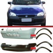 Kit Parachoque Dianteiro e Traseiro + 4 Molduras Paralama Corsa Sedan 96 à 99