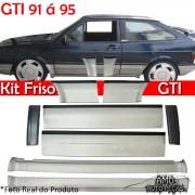 Kit Friso Lateral Gol GTI 91 � 95 Rolo Friso + Capa Coluna + Spoiler Prata com Preto