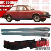 Kit Spoiler Chevette 83 a 96 Dianteiro Com Furo de Milha + Spoiler Lateral Com Tela