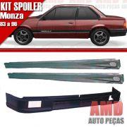 Kit Spoiler Monza 83 á 96 2 Portas Dianteiro Com Furo + Lateral Com Tela
