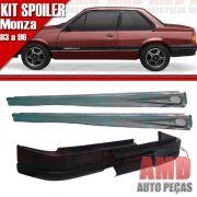 Kit Spoiler Monza 83 á 96 2 Portas Dianteiro Sem Furo + Lateral Com Tela