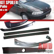 Kit Spoiler Palio 96 á 99 2 Portas Dianteiro + Lateral Sem Tela + Traseiro + Aerofolio