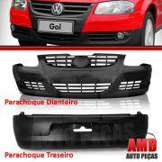 Kit Parachoque Dianteiro + Traseiro Gol G4 05 a 10 Preto Liso