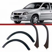 Kit Moldura Paralama Corsa Wind Corsa Hatch Super Dianteiro e Traseiro 94 a 02 Preto Poroso Texturizado