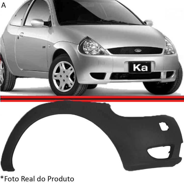 Parachoque Dianteiro Lateral Ka 02 a 07 Preto Liso  - Amd Auto Peças