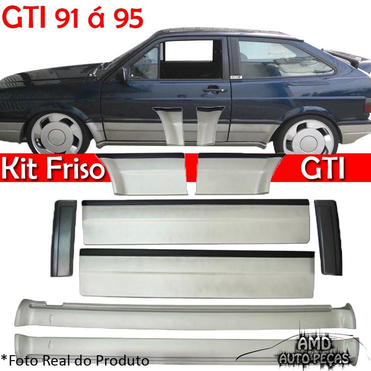 Kit Friso Lateral Gol GTI 91 � 95 Rolo Friso + Capa Coluna + Spoiler Prata com Preto  - Amd Auto Pe�as