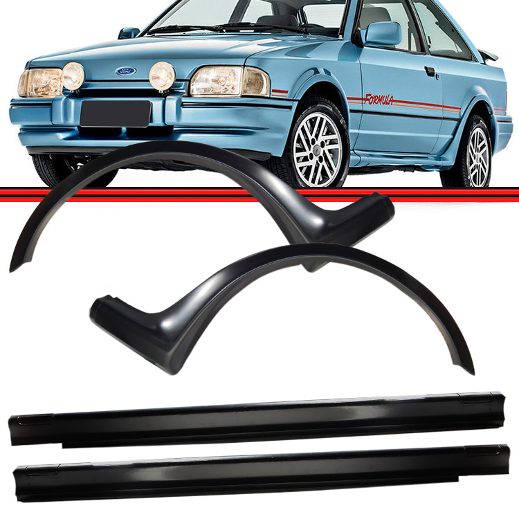 Kit Spoiler Lateral Escort XR3 87 a 92 Hobby 92 a 95 Preto  - Amd Auto Pe�as