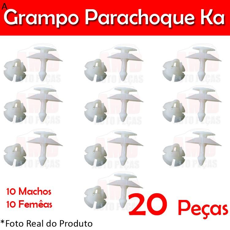 Kit Grampo Presilha Parachoque Dianteiro Traseiro Ka 97 a 07 20 Peças Machos Fêmeas  - Amd Auto Peças