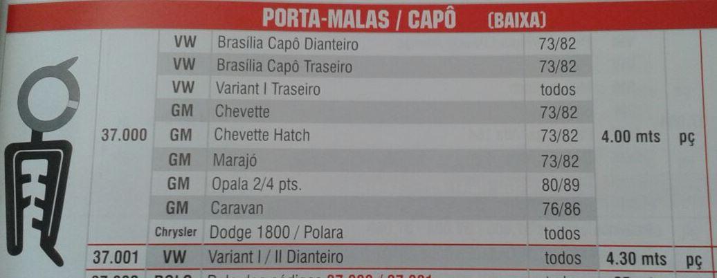 Borracha Mala Capô Universal Brasilia Variant Chevette Marajó Opala Caravan Dodge Universal 4,0 Metros  - Amd Auto Peças