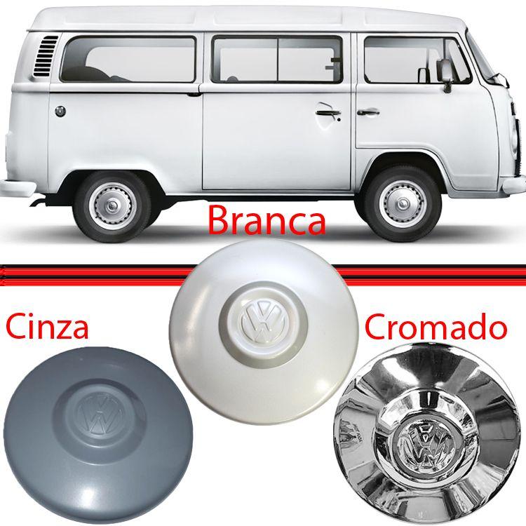 Calota Centro Roda Kombi Fusca Brasilia Branca Cromada e Cinza  - Amd Auto Peças