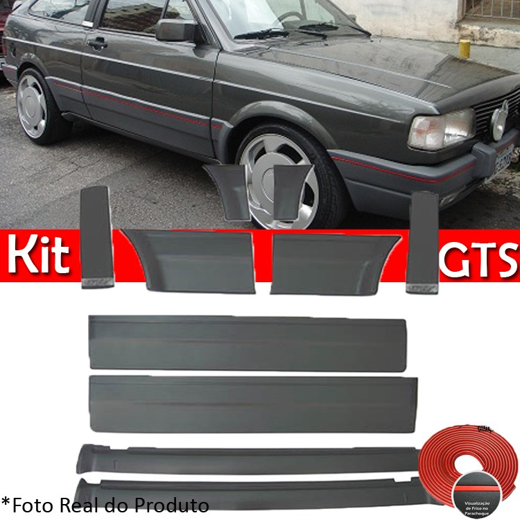 Kit Friso Lateral Gol GTS 93 a 94 Rolo Friso + Capa Coluna + Spoiler Cinza  - Amd Auto Peças