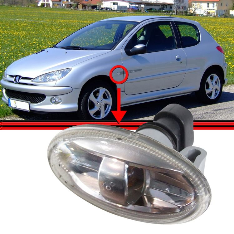 Lanterna Paralama Pisca Seta Xsara Picasso C3 Peugeot 206 307 207 Lisa Transparente  - Amd Auto Peças