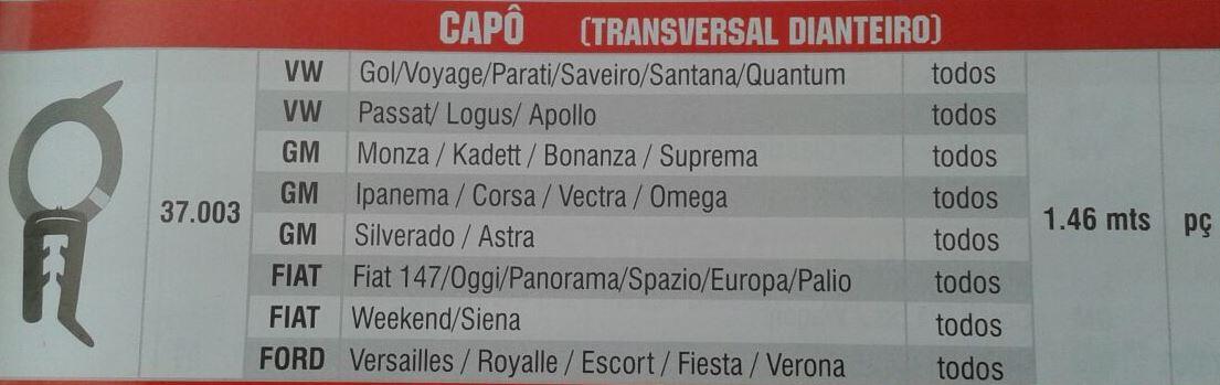 Borracha Capo Universal Gol Voyage Parati Saveiro Palio Escort Corsa 1,46 Metros