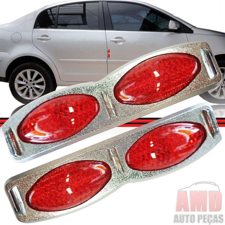 Par Adesivo Refletivo Olho de Gato Porta Cromado com Vermelho e Vermelho  - Amd Auto Pe�as