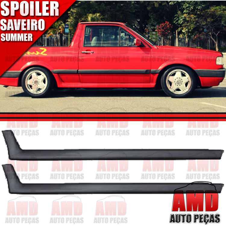 Par Spoiler Lateral Saveiro Summer 87 á 95 Preto   - Amd Auto Peças