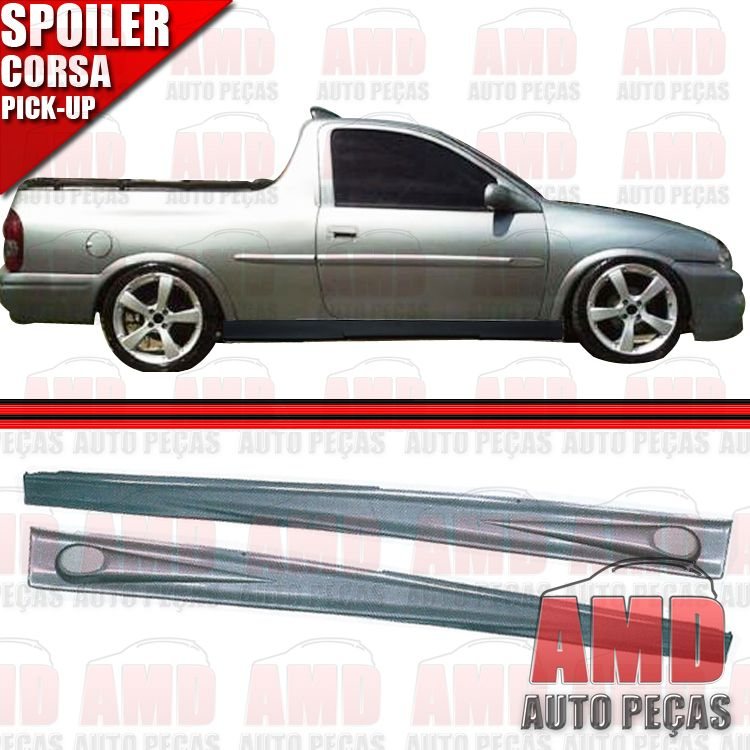 Par Spoiler Lateral Corsa Pick-up com Tela Tuning  - Amd Auto Pe�as