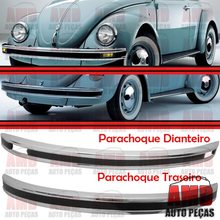Kit Parachoque Dianteiro e Traseiro Fusca Mexicano 71 a 96  - Amd Auto Peças
