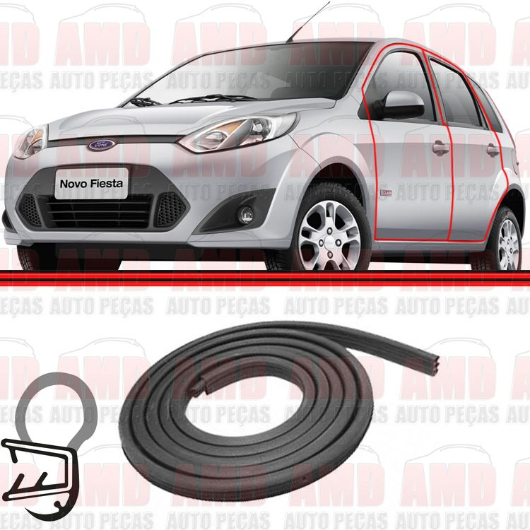 Borracha Porta Fiesta Amazon Hatch Sedan 02 a 11   - Amd Auto Peças