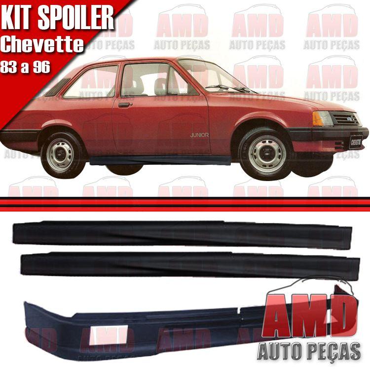 Kit Spoiler Chevette 83 á 96 Dianteiro Com Furo + Lateral Sem Tela  - Amd Auto Peças