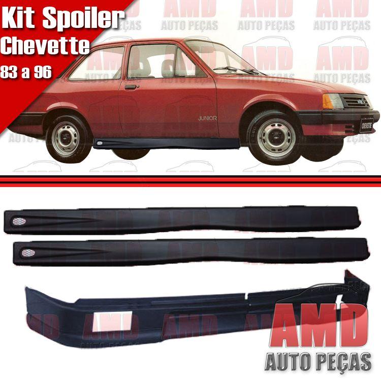 Kit Spoiler Chevette Marajó 83 a 96 Dianteiro Com Furo de Millhas + Lateral com Tela  - Amd Auto Peças