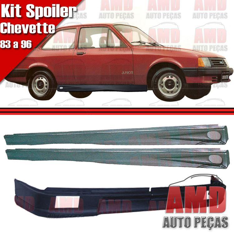 Kit Spoiler Chevette 83 á 96 Dianteiro Com Furo + Lateral Com Tela