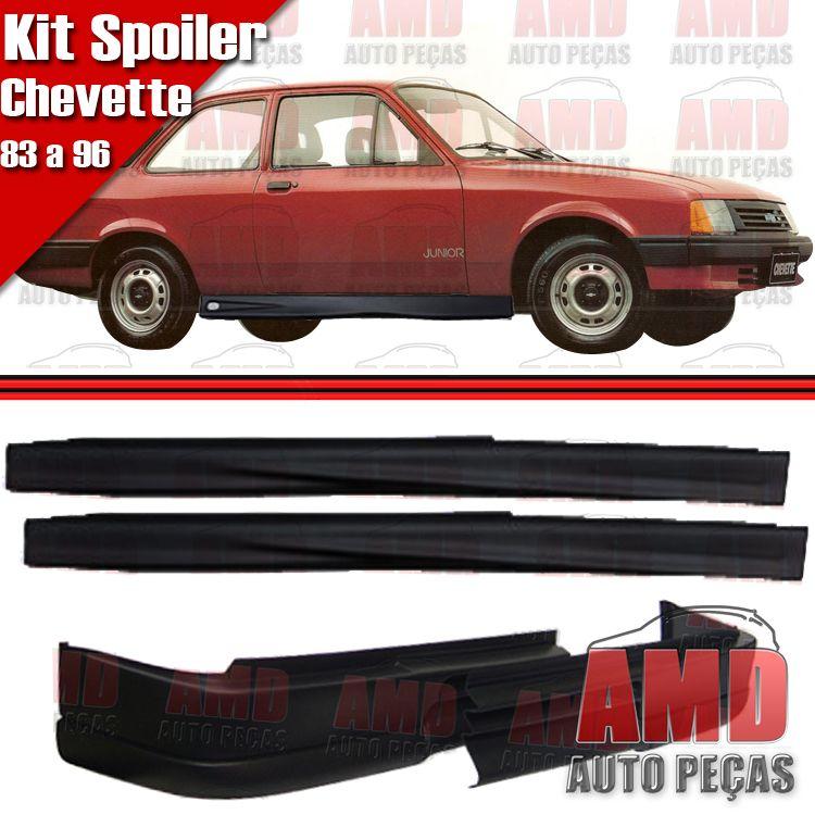 Kit Spoiler Chevette 83 á 96 Dianteiro Sem Furo + Lateral Sem Tela  - Amd Auto Peças