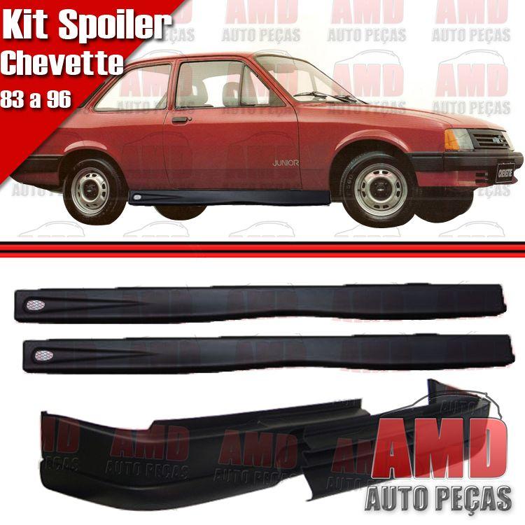 Kit Spoiler Chevette 83 á 96 Dianteiro Sem Furo + Lateral Com Tela  - Amd Auto Peças