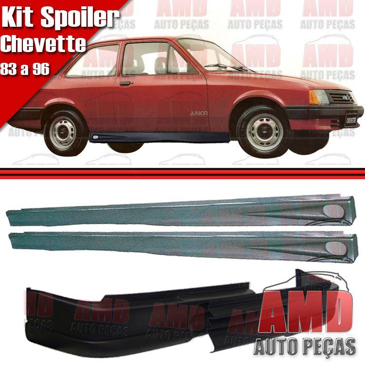 Kit Spoiler Chevette 83 a 96 Dianteiro Com Furo de Milha + Spoiler Lateral Com Tela  - Amd Auto Peças