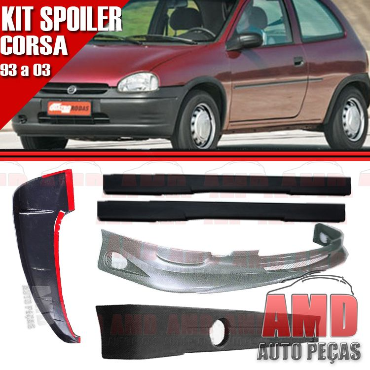Kit Spoiler Corsa 93 á 03 2 Portas Dianteiro + Traseiro + Lateral Sem Tela + Aerofolio  - Amd Auto Peças