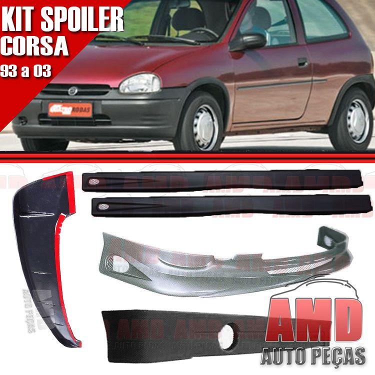 Kit Spoiler Corsa 93 a 99 2 Portas Dianteiro + Traseiro + Lateral Com Tela + Aerofólio  - Amd Auto Peças
