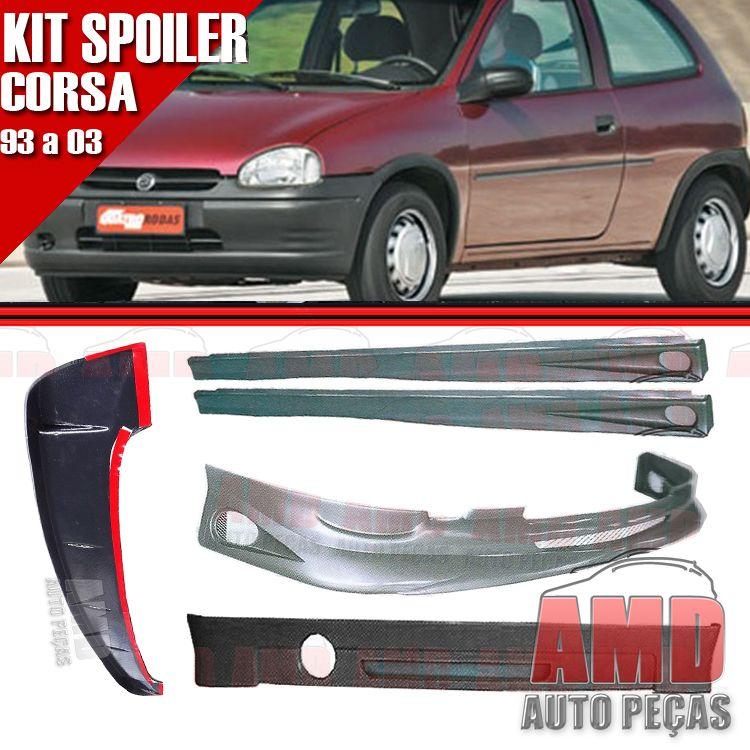 Kit Spoiler Corsa 93 á 03 2 Portas Dianteiro + Traseiro + Lateral Com Tela + Aerofolio