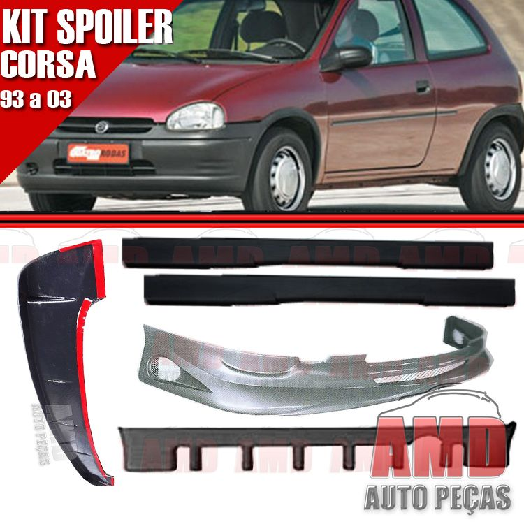 Kit Spoiler Corsa 93 � 03 2 Portas Dianteiro + Traseiro + Lateral Sem Tela + Aerofolio  - Amd Auto Pe�as