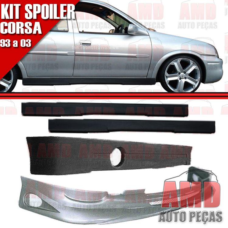 Kit Spoiler Dianteiro + Lateral + Traseiro Corsa Hatch 93 a 02 4 Portas Sem Tela  - Amd Auto Peças