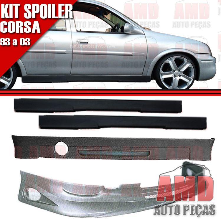 Kit Spoiler Corsa 93 á 03 4 Portas Dianteiro + Traseiro + Lateral Sem Tela   - Amd Auto Peças