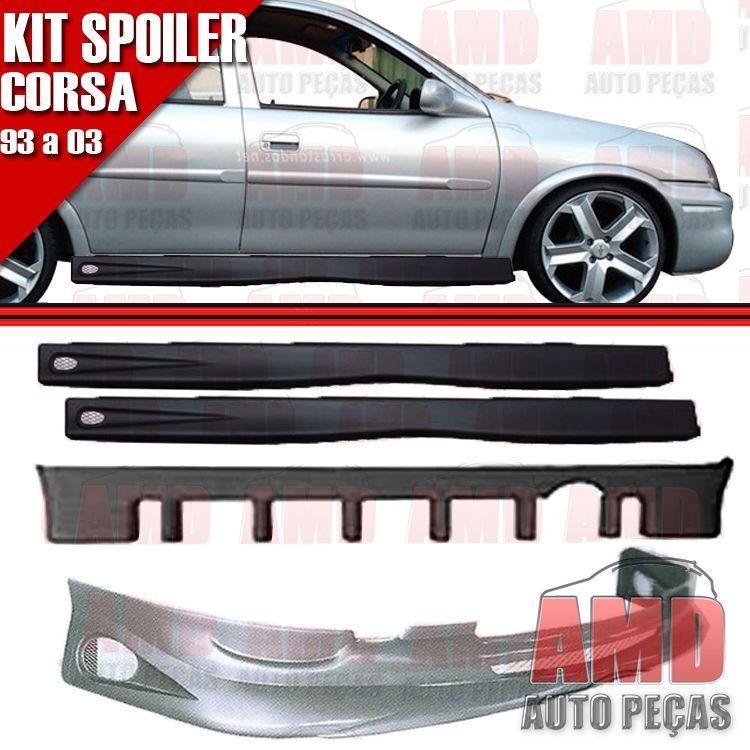 Kit Spoiler Corsa 93 á 03 4 Portas Dianteiro + Traseiro + Lateral Com Tela   - Amd Auto Peças