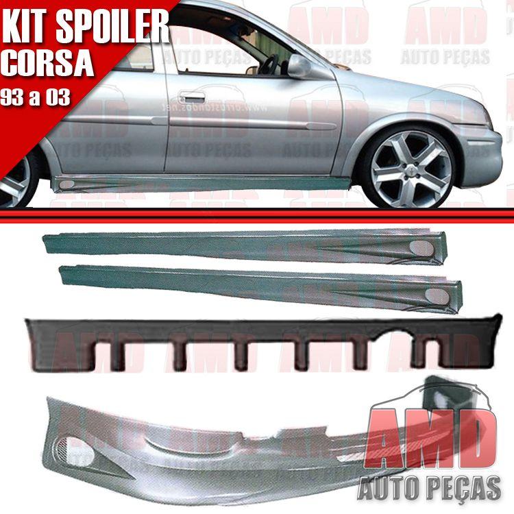 Kit Spoiler Corsa 93 � 03 4 Portas Dianteiro + Traseiro + Lateral Com Tela   - Amd Auto Pe�as