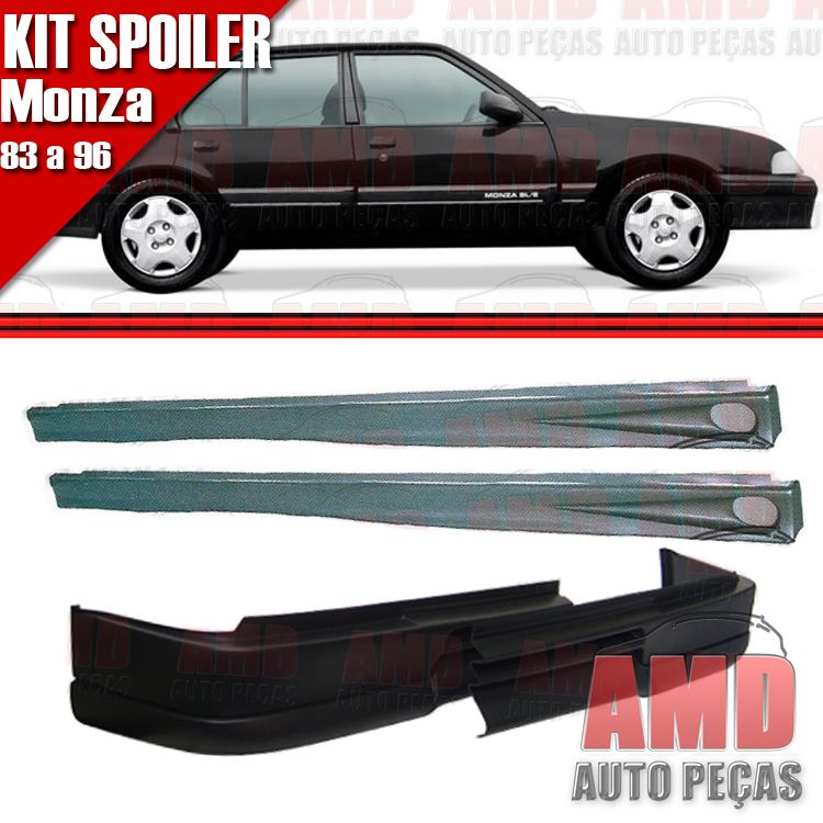 Kit Spoiler Monza 83 á 90 4 Portas Dianteiro Sem Furo + Lateral Com Tela  - Amd Auto Peças