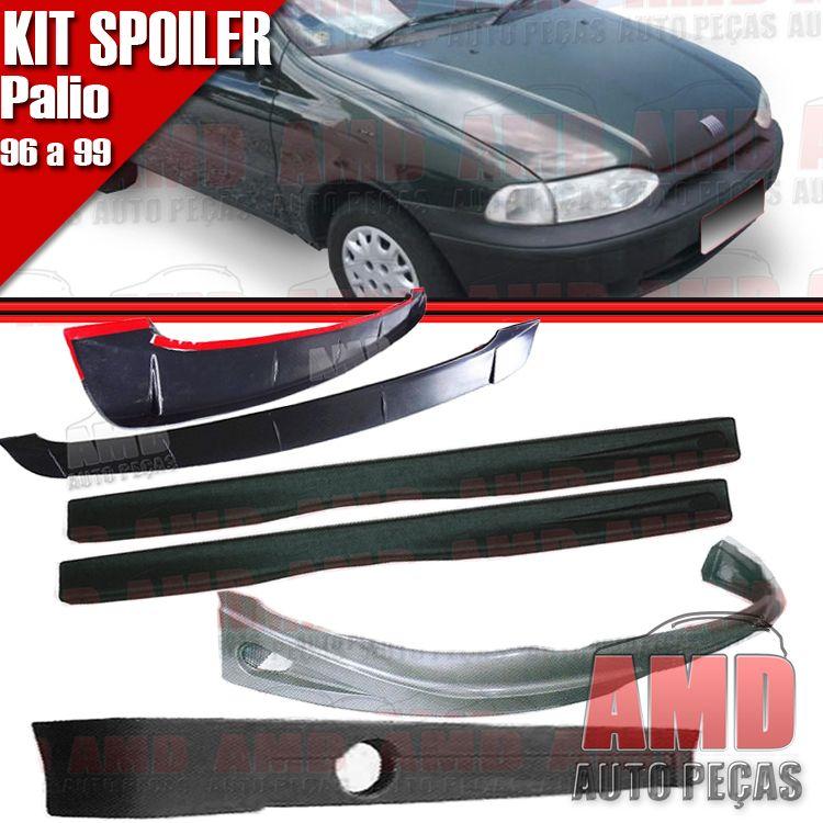 Kit Spoiler Palio 96 á 99 2 Portas Dianteiro + Lateral Com Tela + Traseiro + Aerofolio   - Amd Auto Peças