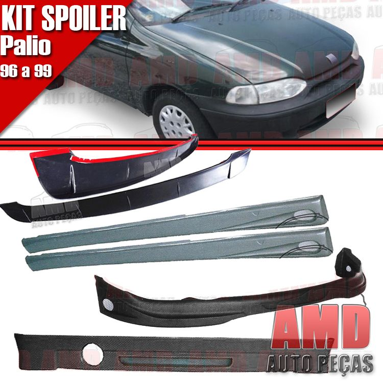 Kit Spoiler Palio 96 � 99 2 Portas Dianteiro + Lateral Com Tela + Traseiro + Aerofolio   - Amd Auto Pe�as