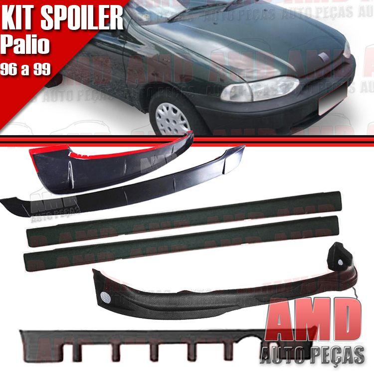 Kit Spoiler Palio 96 á 99 2 Portas Dianteiro + Lateral Sem Tela + Traseiro + Aerofolio   - Amd Auto Peças