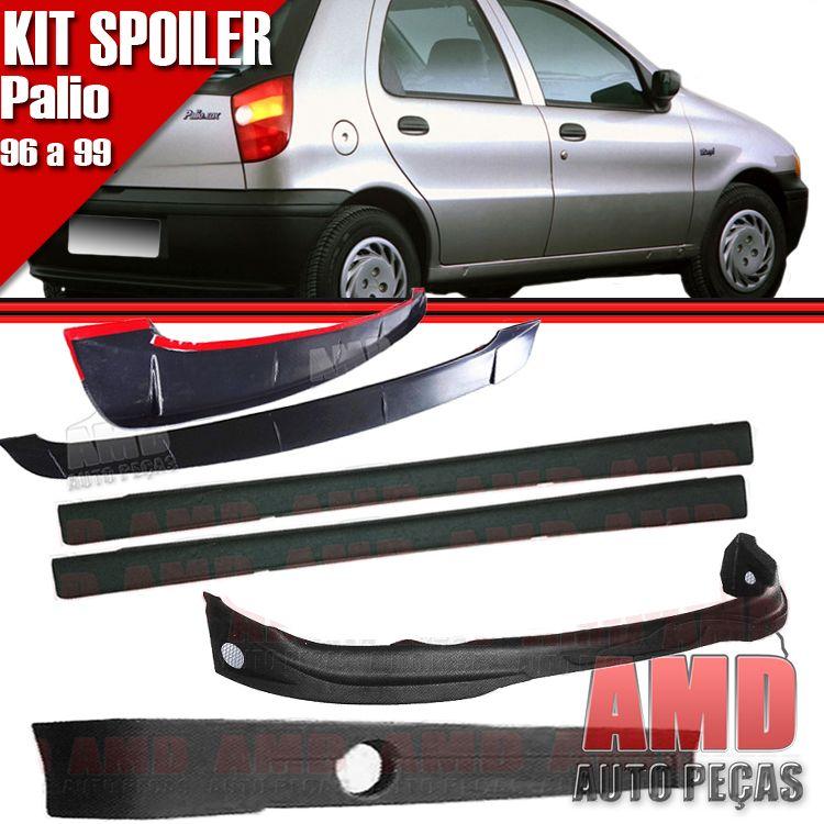 Kit Spoiler Palio 96 á 99 4 Portas Dianteiro + Lateral Sem Tela + Traseiro + Aerofolio   - Amd Auto Peças