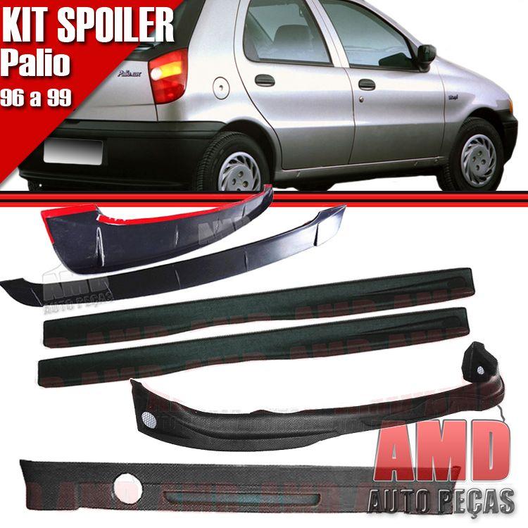 Kit Spoiler Palio 96 á 99 4 Portas Dianteiro + Lateral Com Tela + Traseiro + Aerofolio   - Amd Auto Peças