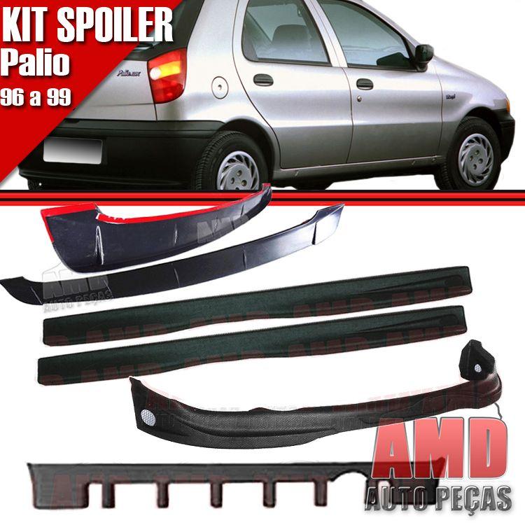 Kit Spoiler Palio 96 � 99 4 Portas Dianteiro + Lateral Com Tela + Traseiro + Aerofolio   - Amd Auto Pe�as