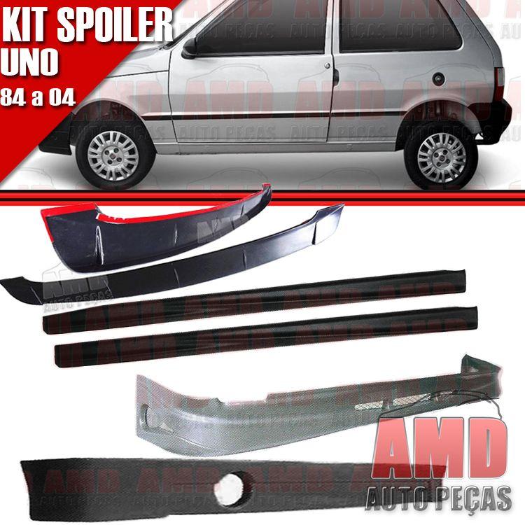 Kit Spoiler Uno 84 á 04 2 Portas Dianteiro + Lateral Sem Tela + Traseiro + Aerofolio   - Amd Auto Peças